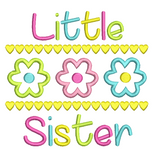 Little sister applique embroidery design by sweetstitchdesign.com