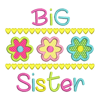 Big Sister applique embroidery design by sweetstitchdesign.com