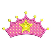 Princess crown applique machine embroidery design by sweetstitchdesign.com