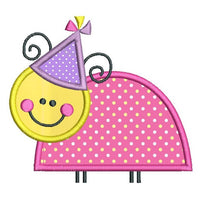 Cute party bug applique machine embroidery design by sweetstitchdesign.com