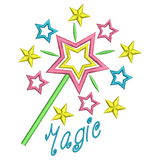 Magic wand applique machine embroidery design by sweetstitchdesign.com