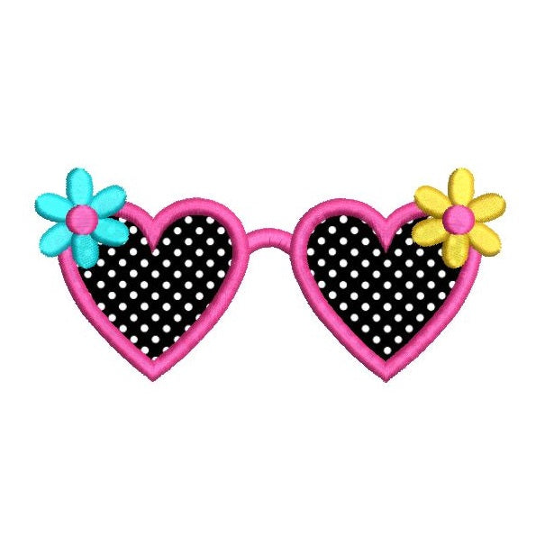 Girl's sunglasses applique machine embroidery design by sweetstitchdesign.com