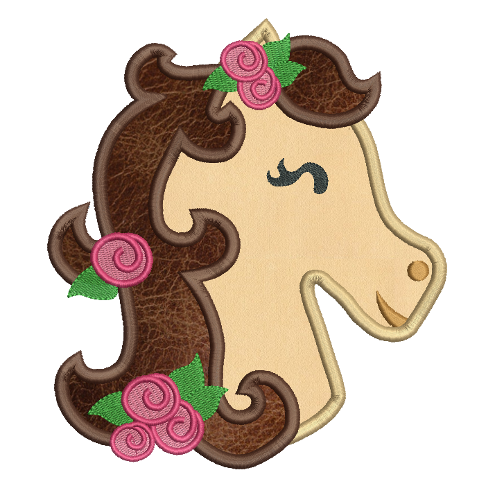 Sweet horse applique machine embroidery design by sweetstitchdesign.com