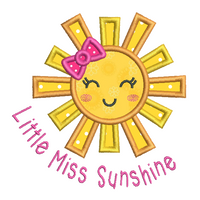 Little miss sunshine applique embroidery design by sweetstitchdesign.com