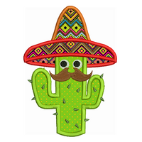 Cinco de Mayo cactus applique machine embroidery design by sweetstitchdesign.com
