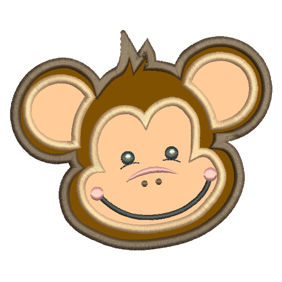 Monkey face applique machine embroidery design by sweetstitchdesign.com
