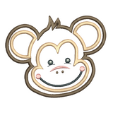 Monkey face applique machine embroidery design by embroiderytree.com