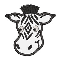 Zebra face applique machine embroidery design by sweetstitchdesign.com