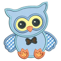 Baby boy owl applique machine embroidery design by sweetstitchdesign.com