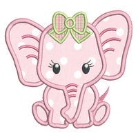 Baby girl elephant applique machine embroidery design by sweetstitchdesign.com