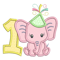 1st birthday applique number with elephant machine embroidery design by sweetstitchdesign.com