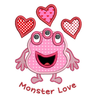 Valentine's Day monster applique machine embroidery design by sweetstitchdesign.com
