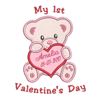 Personalised baby's 1st Valentine's Day applique machine embroidery design by sweetstitchdesign.com