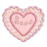 Valentine's love heart applique machine embroidery design by sweetstitchdesign.com