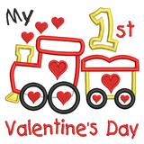 My 1st Valentine's train applique machine embroidery design by sweetstitchdesign.com