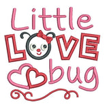 Valentine's Day love bug applique machine embroidery design by sweetstitchdesign.com