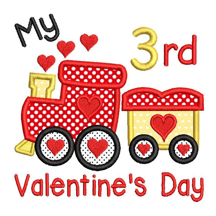 Valentine's Day train applique machine embroidery design by sweetstitchdesign.com