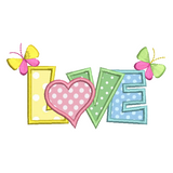 Love word with butterflies applique machine embroidery design by sweetstitchdesign.com