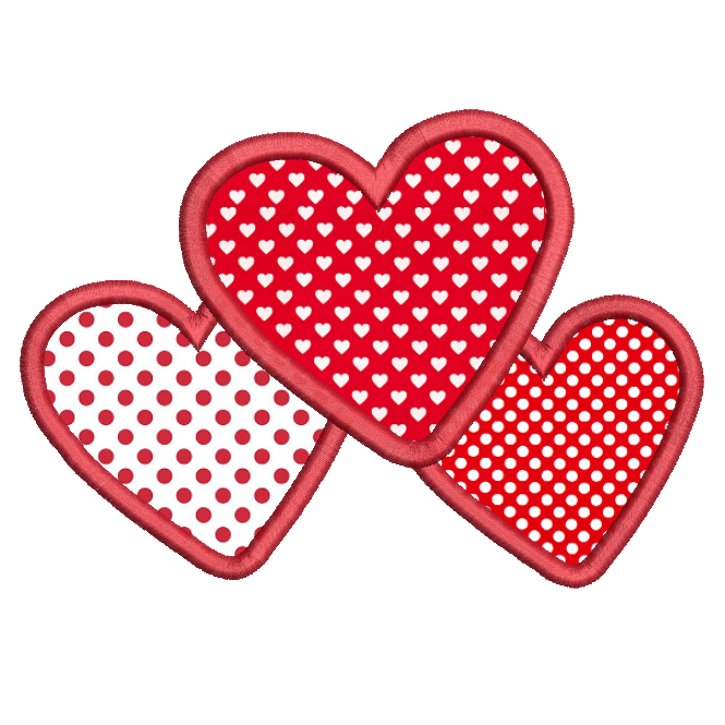 Valentine's Day hearts applique machine embroidery design by sweetstitchdesign.com