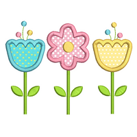 Trio of flowers applique machine embroidery design by sweetstitchdesign.com