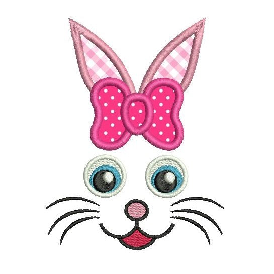 Easter bunny face applique machine embroidery design by sweetstitchdesign.com