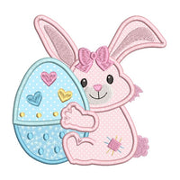 Easter bunny applique machine embroidery design by sweetstitchdesign.com