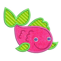 Colorful fish applique machine embroidery design by sweetstitchdesign.com