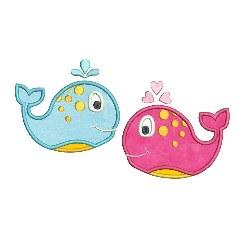 Cute boy and girl whale applique machine embroidery designs by sweetstitchdesign.com