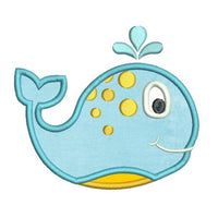 Cute boy whale applique machine embroidery design by sweetstitchdesign.com