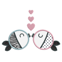 Kissing Fish Applique (SA552-3)
