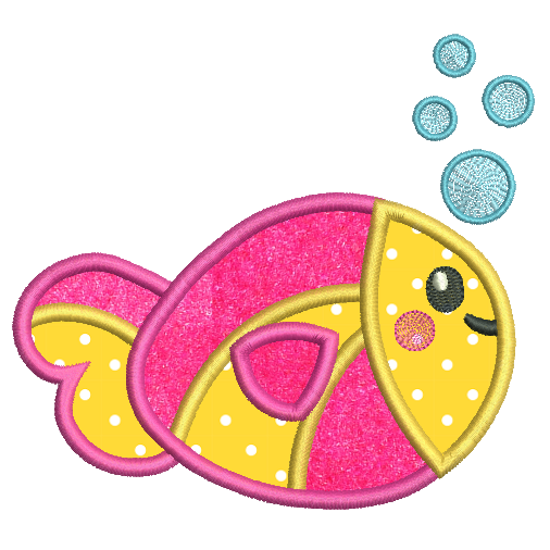 Cute fish applique machine embroidery design by sweetstitchdesign.com