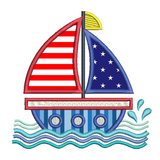 Sail boat applique machine embroidery design by sweetstitchdesign.com