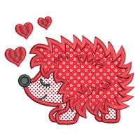 Valentine's Day Hedgehog applique machine embroidery design by sweetstitchdesign.com