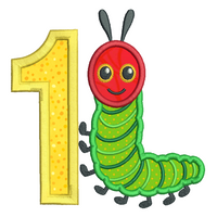1st birthday caterpillar applique machine embroidery design by sweetstitchdesign.com