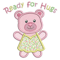 Cute teddy bear applique machine embroidery design by sweetstitchdesign.com