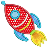 Toy rocket ship applique machine embroidery design by sweetstitchdesign.com