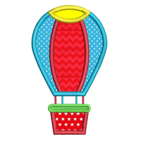 Toy hot air balloon applique machine embroidery design by sweetstitchdesign.com