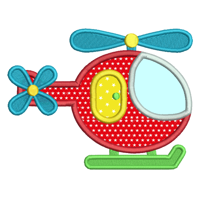 Helicopter applique machine embroidery design by sweetstitchdesign.com