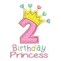 2nd birthday princess crown applique machine embroidery design by sweetstitchdesign.com