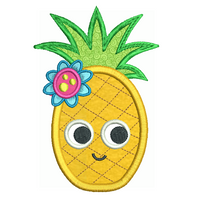 Pineapple applique machine embroidery design by sweetstitchdesign.com