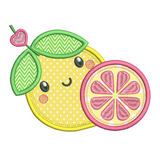 Pink lemon applique machine embroidery design by sweetstitchdesign.com