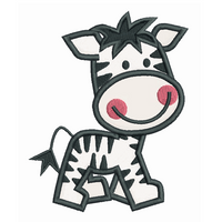Baby zebra applique machine embroidery design by sweetstitchdesign.com