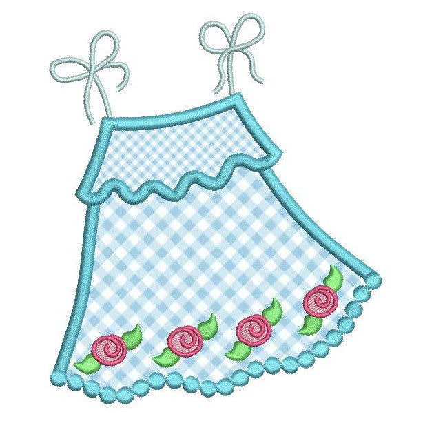 Baby sun dress applique machine embroidery design by embroiderytree.com