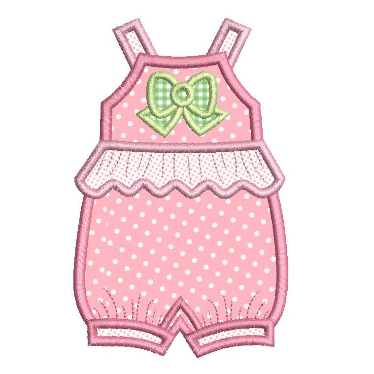 Baby romper suit applique machine embroidery design by sweetstitchdesign.com