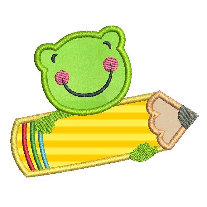 Cute frog with pencil applique machine embroidery design by sweetstitchdesign.com