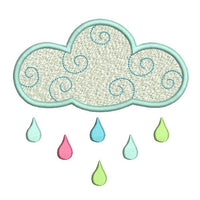 Weather cloud machine embroidery design by sweetstitchdesign.com