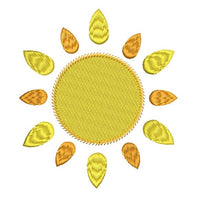 Shining sun applique machine embroidery design by sweetstitchdesign.com
