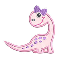 Baby girl dinosaur applique machine embroidery design by sweetstitchdesign.com