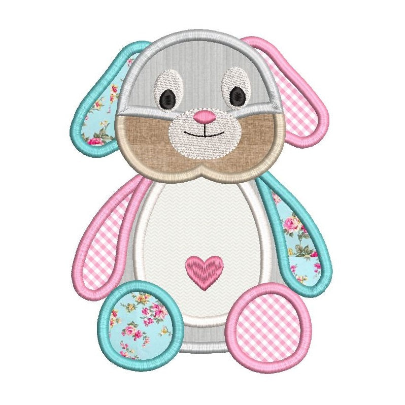 Bunny machine embroidery applique design by sweetstitchdesign.com