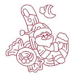 Christmas Santa - redwork machine embroidery design by sweetstitchdesign.com